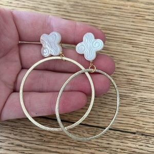 BaubleBar Jewelry - BaubleBar gold hoops with ivory detail